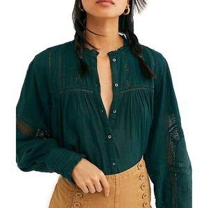 NWT Free People Emma cotton lace blouse, medium